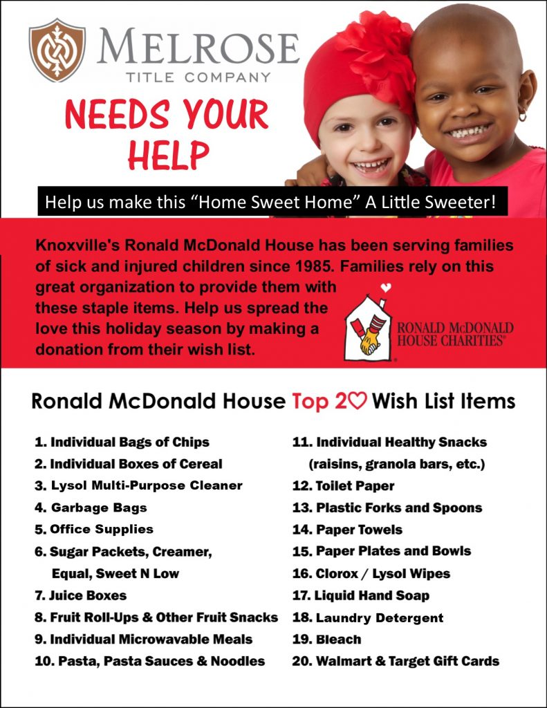 RMH Wish List Flyer 2017